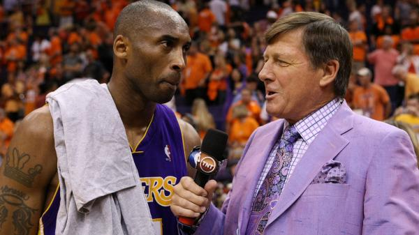 Checked suits, bright colors, garish patterns — you name it, and Craig Sager's worn it. This violet outfit accompanied a 2010 playoff game between two teams with purple in their color scheme, the Los Angeles Lakers and the Phoenix Suns.