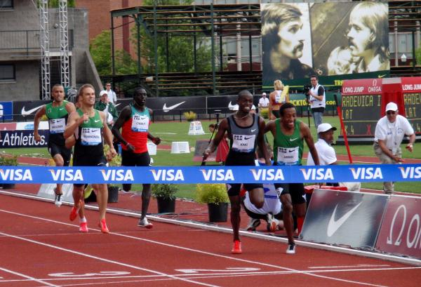 Nick Symmonds (with chin up on left) chalked up the fastest 800 meters by an American so far this season. By Tom Banse.