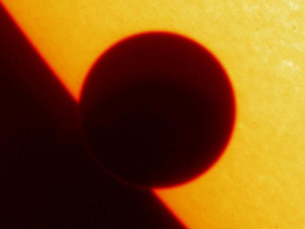 Venus on the eastern limb of the Sun captured by TRACE satellite.
