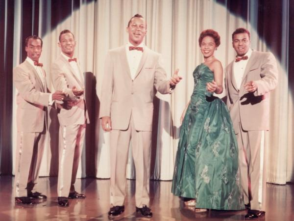 One of the early versions of The Platters (in 1955), with Herb Reed at far left.