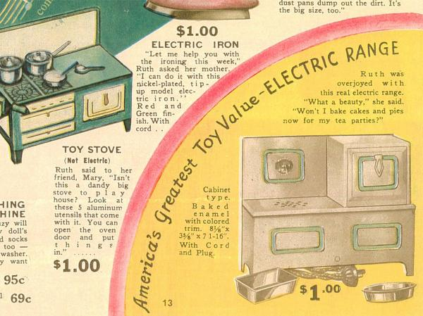 When electric ranges replaced wood and gas in the kitchen, oven toys followed suit, as seen in this <em>Billy & Ruth </em>toy catalog from 1935.