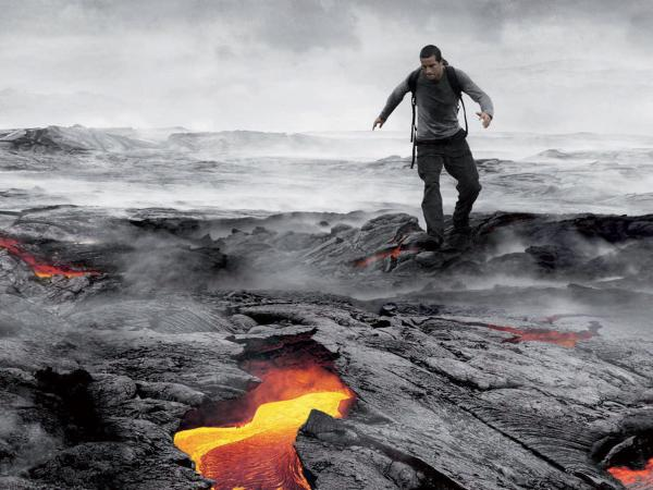 Bear Grylls shows off his wilderness survival skills in his TV series<em> Man Vs. Wild</em> on Discovery.