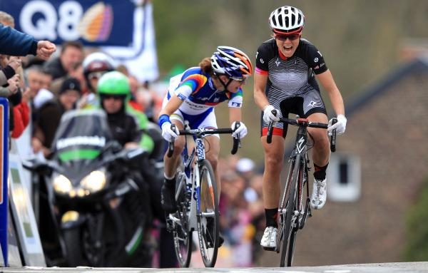 Since entering the sport at age 25, Evelyn Stevens (right) has risen to the elite ranks of women's cycling. In April, she passed top rival Marianne Vos of Holland on her way to winning the Fleche Wallonne race in Belgium.