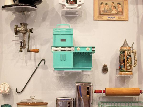 "The original boxy, turquoise, incandescent Easy-Bake has pride of place among kitchen appliances at the National Building Museum's <em>House and Home </em>exhibit. ""It's something people always point at,"" says curator Sarah Leavitt. ""It inspires a lot of love and nostalgia."""