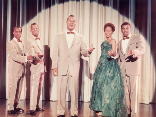 Portrait of the Platters with Herb Reed (left), 1950s. (Photo by Frank Driggs Collection/Getty Images)