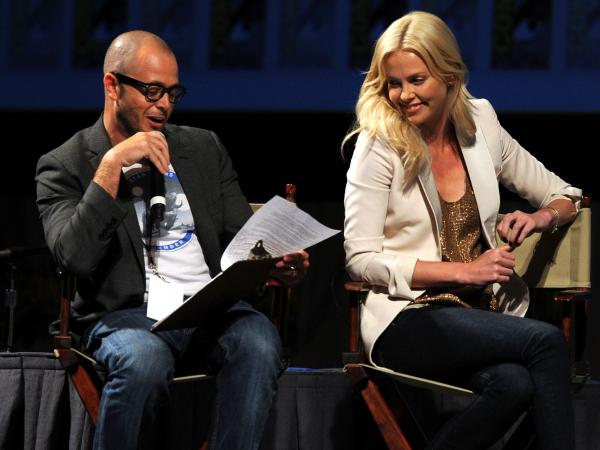Damon Lindelof moderated a conversation with Charlize Theron, who stars in the new Ridley Scott thriller <em>Prometheus, </em>at the 2011 Comic-Con. Lindelof co-wrote the film.