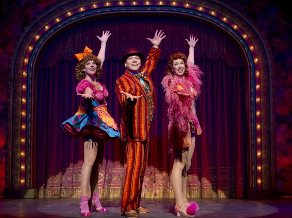 "<strong></strong>Danny Burstein, as Buddy Plummer, performs ""Buddy's Blues"" in <em>Follies</em> with Jenifer Foote (left) and Kiira Schmidt. Burstein is nominated for best actor in a musical. <em></em>"