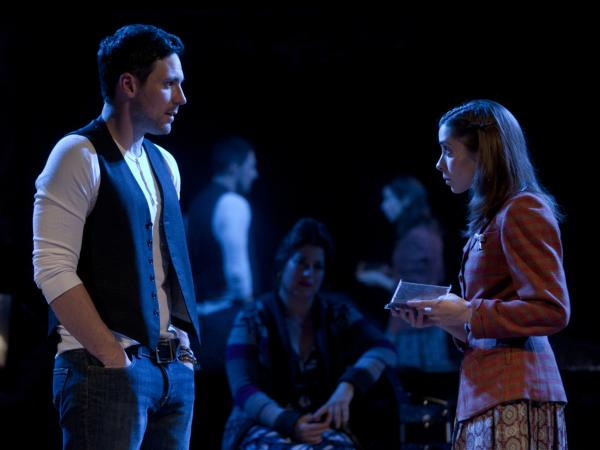 Steve Kazee and Cristin Milioti in <em>Once</em>, a musical based on the cult-favorite Irish indie movie. The show received 11 nominations, leading the Tonys pack this year.
