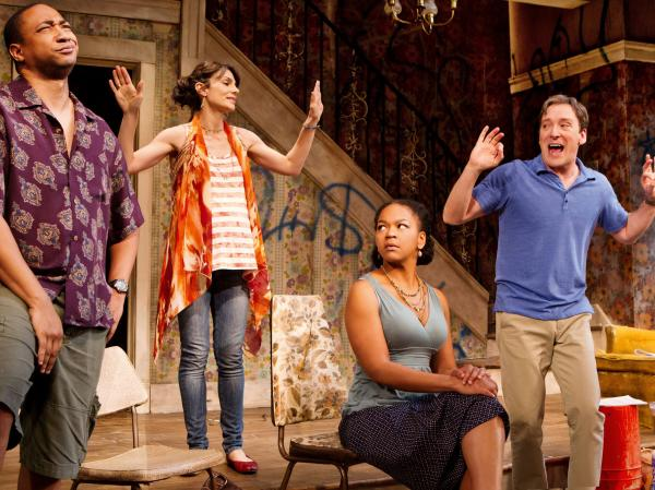 From left, Damon Gupton, Annie Parisse, Crystal A. Dickinson and Jeremy Shamos in a scene from <em>Clybourne Park</em>'s second act, set in a gentrifying neighborhood. <em></em>