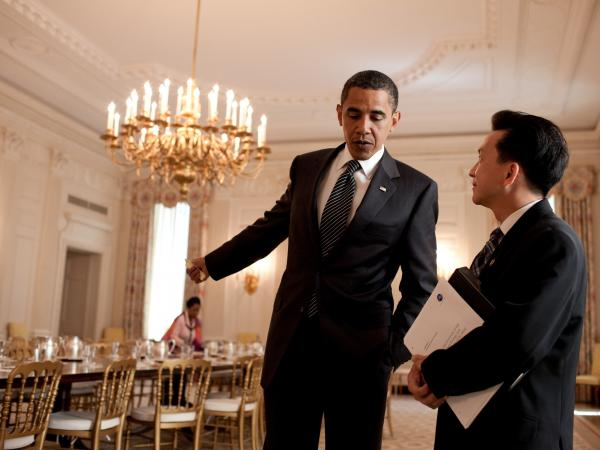 "Rep. Anh ""Joseph"" Cao meets with President Obama on June 25, 2009. Cao was the only Republican to support the health care legislation introduced by House Democrats that year."