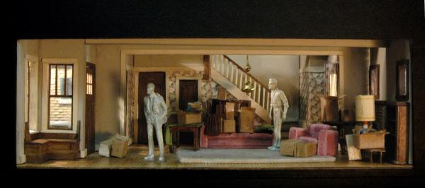 In <em>Clybourne Park,</em> a 1950s Chicago bungalow is as much a character as any of the people. Daniel Ostling's first-act set model, above, shows how the designer conceived the space and its furnishings.