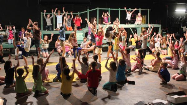 Children rehearse for a production of <em>The Wizard of Oz</em> at the Lawrence Arts Center in Lawrence, Kan.