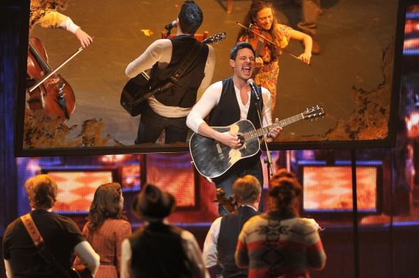 New-minted Tony winner Steve Kazee performs with the cast of <em>Once</em> on the awards broadcast.
