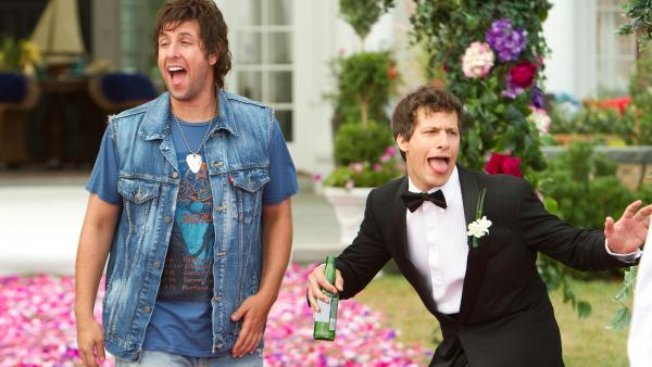 Reunited with an uptight son (Andy Samberg, right), a beer-swilling ne'er-do-well (Adam Sandler) counsels more heedless hedonism in <em>That's My Boy.</em>