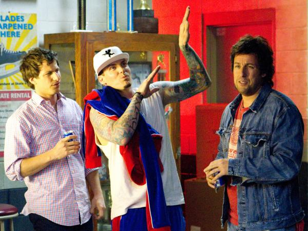 Vanilla Ice (center) appears as himself in <em>That's My Boy,</em> a film whose protagonist (Sandler) was himself famous — or at least notorious — for about 15 minutes.