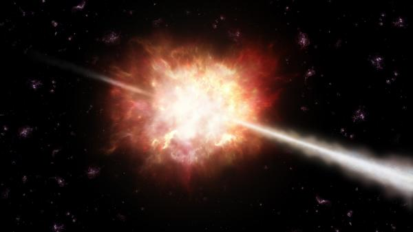 An artist's impression of a gamma-ray burst, a powerful jet of energy lasting from less than a second to several minutes. The most powerful events in the universe, they are thought to be mostly associated with the explosion of stars that collapse into black holes.