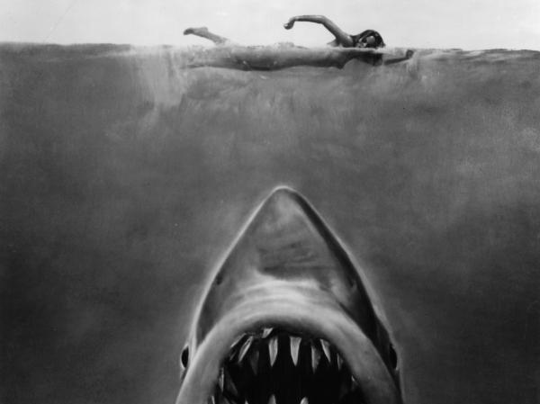 Susan Backlinie swims as the great white shark rises toward her in publicity art for the 1975 film <em>Jaws</em>.