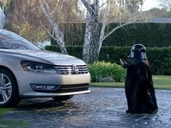 "In this screen shot provided by Volkswagen of America, Max Page stars as a ""Little Darth Vader"" who thinks he's used ""the force"" to start a VW Passat."