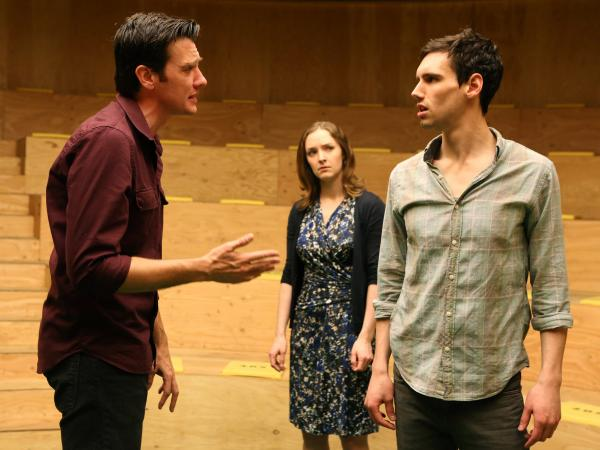 <strong>Three's company:</strong> M (Jason Butler Harner, left) and F (Amanda Quaid) spar over the affections of the paralyzingly uncertain John (Cory Michael Smith) in Mike Bartlett's <em>The Cockfight Play.</em>