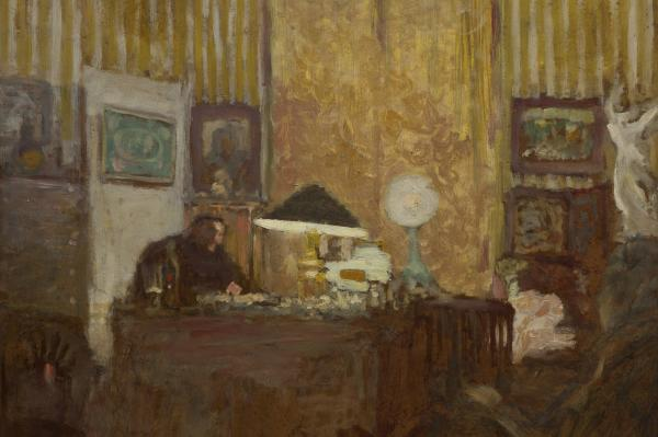 Thadee Natanson, depicted here at his desk in an Edouard Vuillard oil painting from 1899, was from a prominent family of bankers. He was one of Vuillard's loyal supporters and helped the artist achieve recognition in Paris in the 1890s.