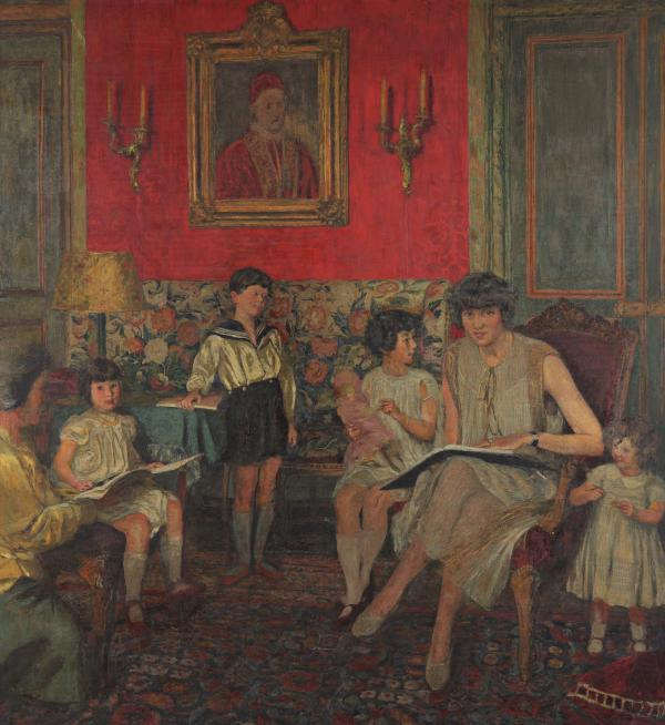 "Vuillard worked on several versions of this portrait of Gilberte Bloch and her children. (<a href=""http://www.thejewishmuseum.org/edouard-vuillard-bloch-versions"">Click here to see the portrait in different stages.</a>) The portrait was left with friends when the family fled the Nazis during World War II."