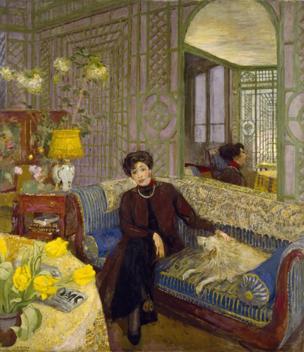 Vuillard's paintings are full of patterns. This lively 1914 portrait depicts Marcelle Aron, Lucy Hessel's first cousin, in the conservatory of her Paris apartment. She was married to writer Tristan Bernard.