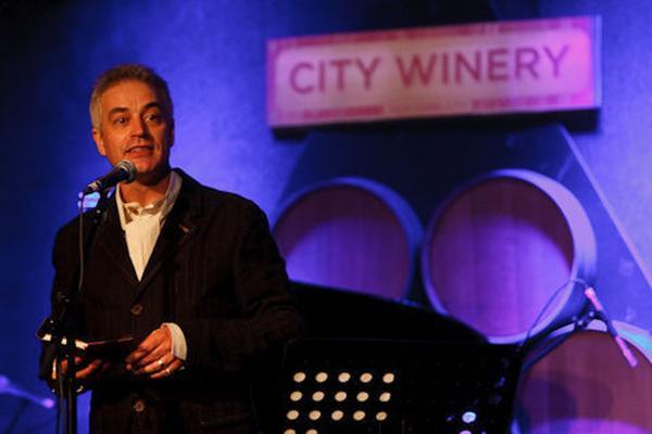 Host John Wesley Harding on the Cabinet of Wonders at City Winery in Brooklyn, NY.