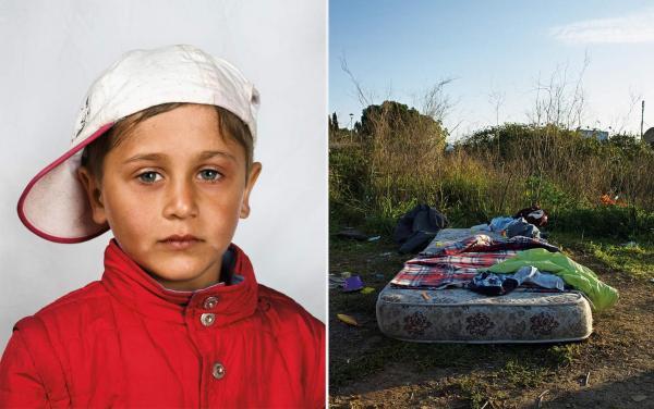 Home for this 4-year-old boy and his family is a mattress in a field on the outskirts of Rome. The family came from Romania by bus, after begging on the streets for enough money to pay for their tickets.