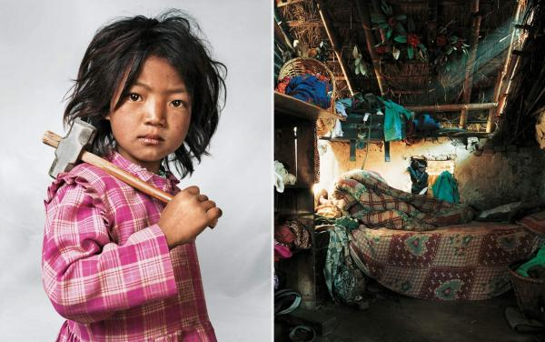 Indira lives with her parents, brother and sister near Kathmandu in Nepal. Her house has only one room, with one bed and one mattress. Indira is 7 years old and has worked at the local granite quarry since she was 3.