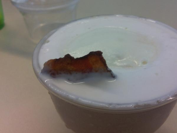 The bacon shark, hiding beneath the surface, is betrayed by its dorsal fin.