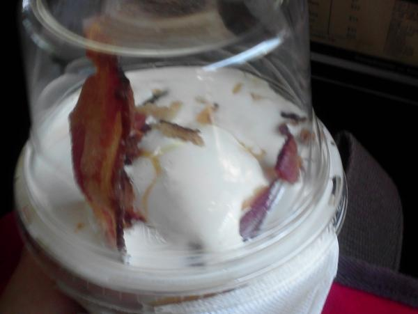 Make sure and leave the lid on because the bacon sundae cannot breathe in our atmosphere.