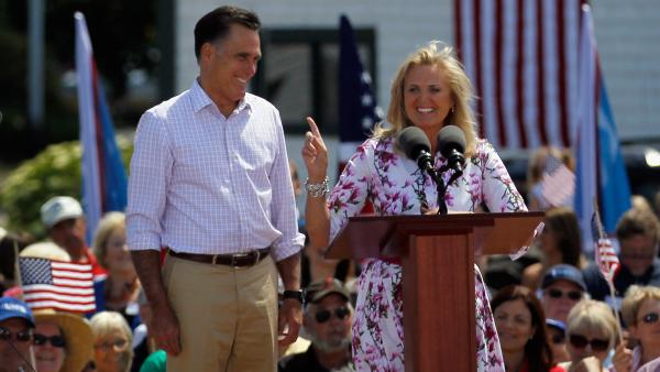 Republican presidential candidate Mitt Romney is introduced by his wife, Ann, during a campaign event at Scamman Farm on June 15, in Stratham, N.H.