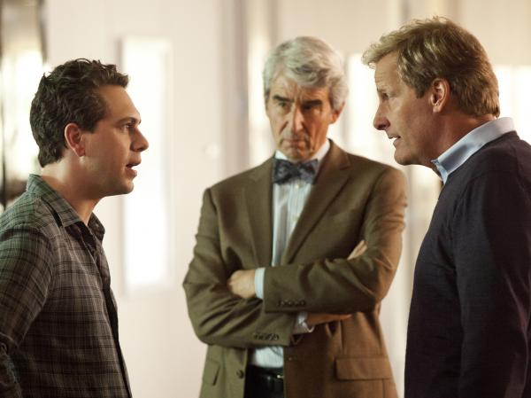 In addition to Daniels, the ensemble cast of <em>The Newsroom</em> includes Thomas Sadoski (left) and Sam Waterston.