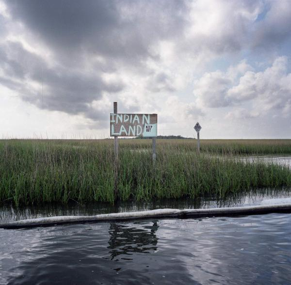 <em>Stranded Indian Land with Oil Boom, after the British Petroleum Oil Spill, South of Point-aux-Chenes, Louisiana,</em> 2010