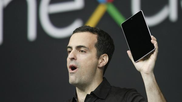 Hugo Barra, product management director of Android, introduces Google's low-cost computer tablet Nexus 7 during the keynote speech at Google's annual developer conference on Wednesday.