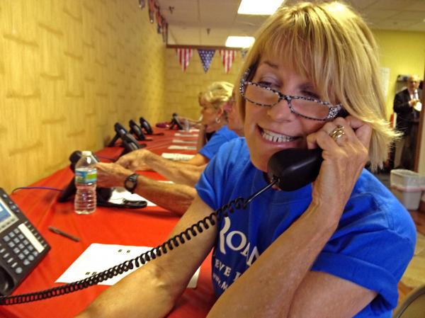 Barbie Snavely works at the Republicans' phone bank in Orange County, Fla.