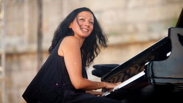Amina Figarova performs at the 2010 Newport Jazz Festival.