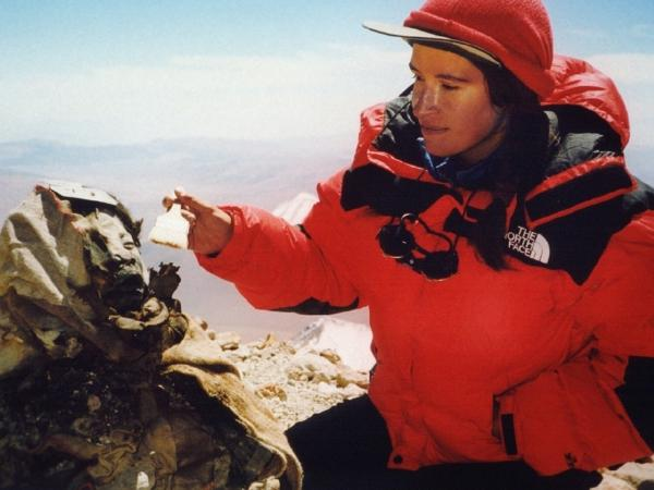Archaeologist Constanza Ceruti on the summit of Llullaillaco Volcano, where the expedition she co-lead unearthed three of the best-preserved mummies ever discovered.