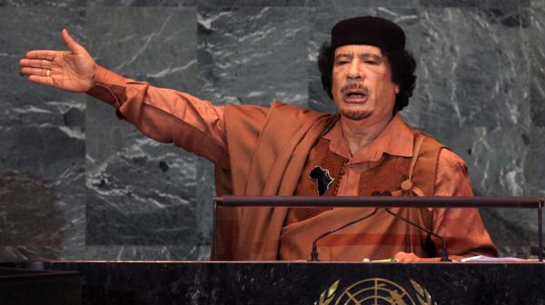 <p>The U.S. chose to play a limited role in the uprising against Moammar Gadhafi, shown here delivering a speech at the United Nations in 2009. He was killed in Sirte, Libya, on Thursday.</p>