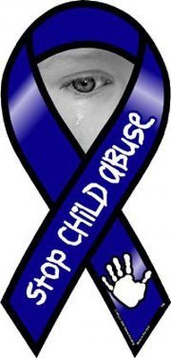 "The ""stop child abuse"" blue ribbon."