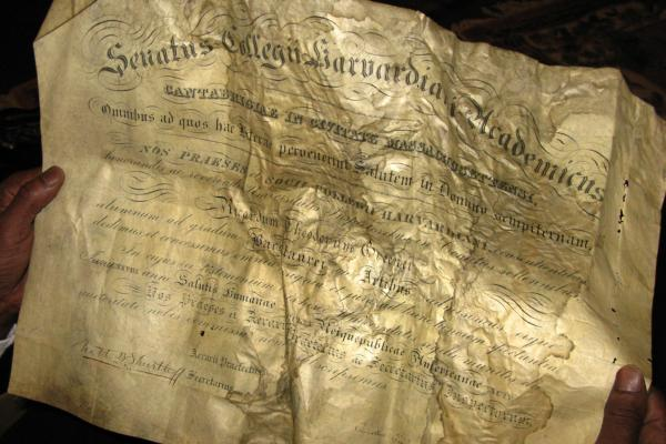 Greener's 1870 Harvard diploma was among the items found.