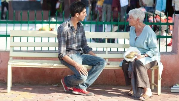 Dev Patel as Sonny and Judi Dench as Evelyn on the set of <em>The Best Exotic Marigold Hotel. </em>
