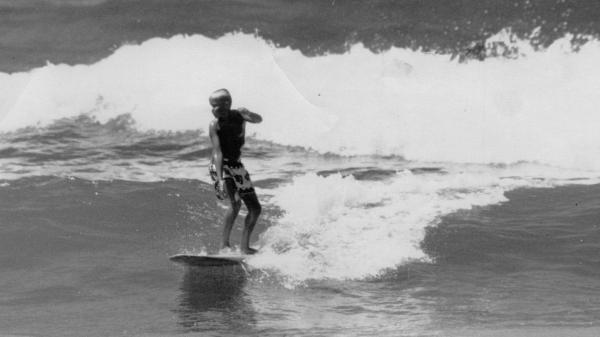 Bobby Waters, Don Waters' father, surfing at Manhattan Beach in 1955.