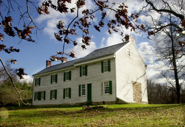 The Thomas Clark House at Princeton Battlefield Park in Princeton Township, N.J., is shown in Dec. 2001. The battle was fought on the Clark's farm and Gen. George Washington's dearest friend Gen. Hugh Mercer died in the house nine days after being wounded at the battle during the Revolutionary War. This site is currently threatened by a housing development.