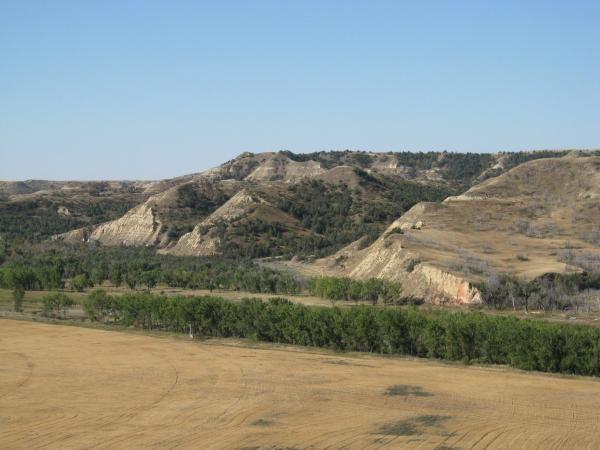 In this photo provided by the U.S. Forest Service, Theodore Roosevelt's Elkhorn Ranch site near Medora, N.D., is seen in Sept. 2007. Billings County officials want to build a crossing over the Little Missouri River and a road to cut commute times for locals. Opponents worry it would be a road heavy with oil traffic and RVs, ruining an area that inspired the conservation-minded president.