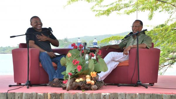 Calabash co-founder Kwame Dawes (left) facilitates a discussion with author and sociology scholar Orlando Patterson at this year's Calabash International Literary Festival in Treasure Beach, Jamaica.