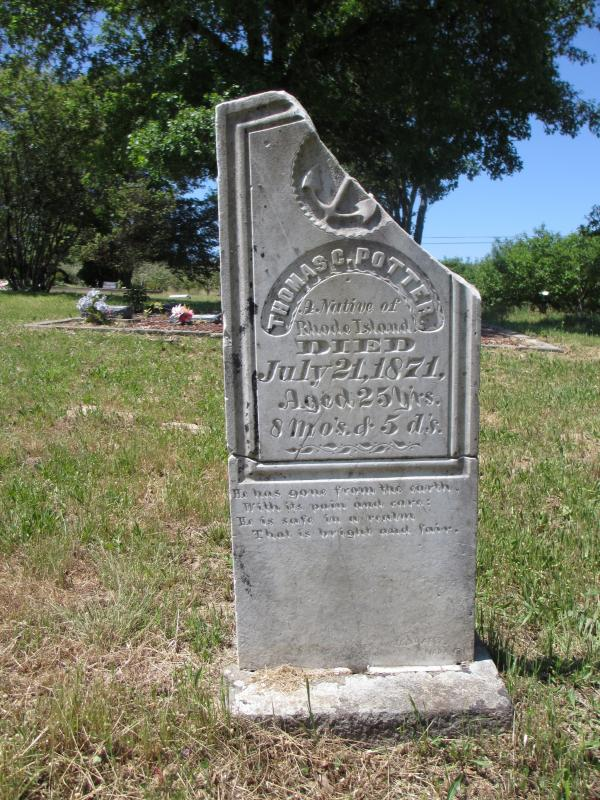 "The partially restored headstone for Thomas C. Potter, who traveled west from Rhode Island, shows that he died on July 21, 1871, at age 25. The inscription reads, ""He has gone from the earth, With its pain and care: He is safe in a realm That is bright and fair."""