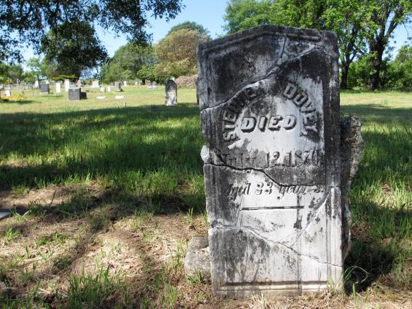 The repaired headstone for Stephen Dovey notes that he died on July 12, 1870, at age 33.