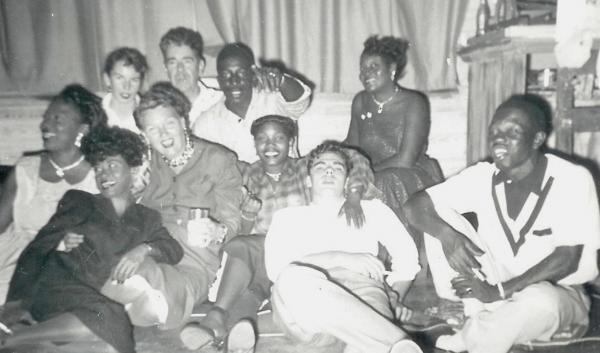 A.E. Backus with friends in his Fort Pierce studio