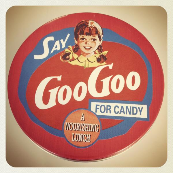 "Vintage advertising for GooGoo Clusters promote the candy as ""a nourishing lunch."""